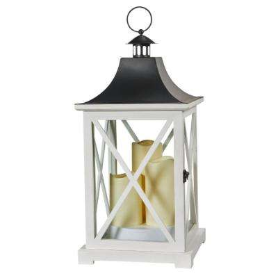 York 20 in. Triple LED Candle Wooden Lantern