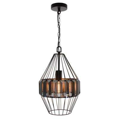 Turin 1-Light Vintage Matte Black Cage Metal and Crystal Shade Hanging Pendant