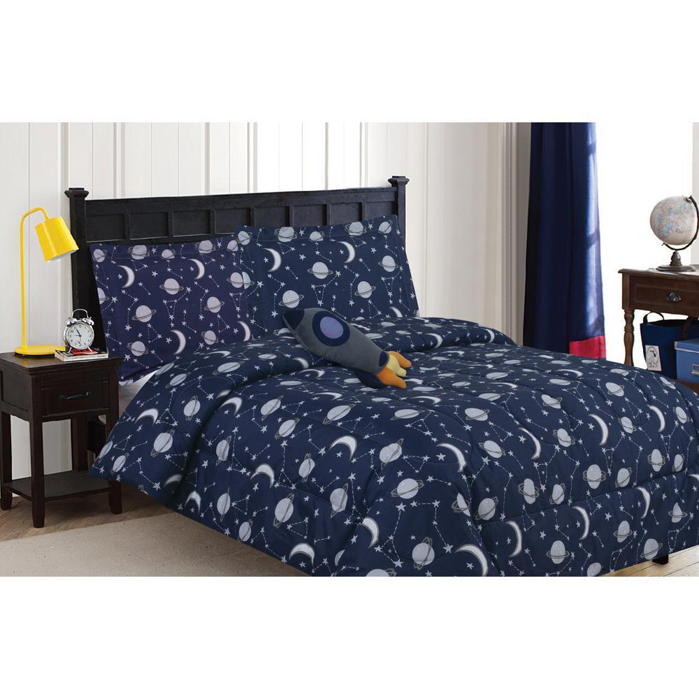 Constellation 4-Piece Navy Twin Comforter Set