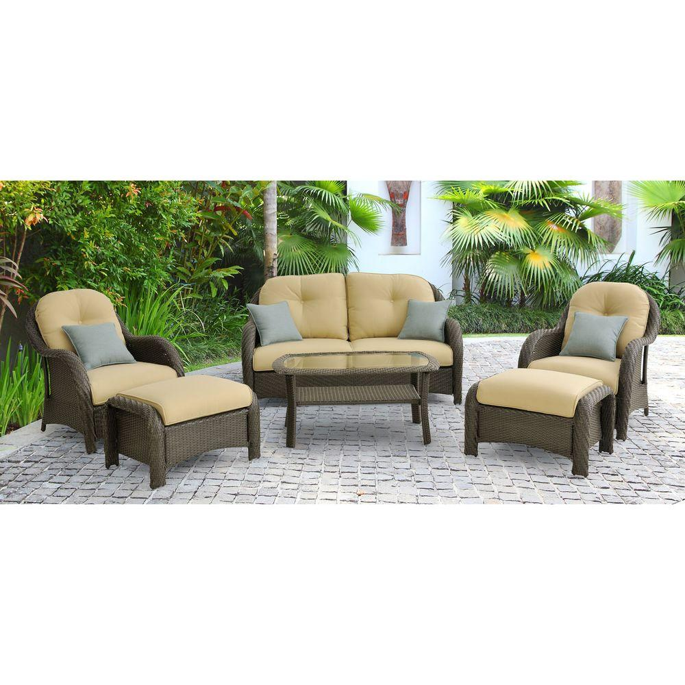 Hanover newport 6 piece patio lounge set with cream for Patio lounge sets