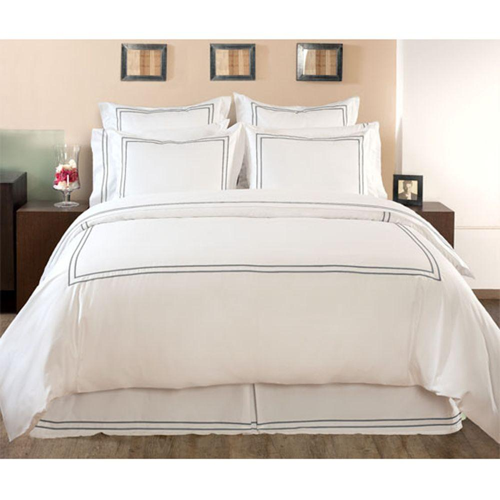 Home Decorators Collection Embroidered Grant Gray Full/Queen Duvet