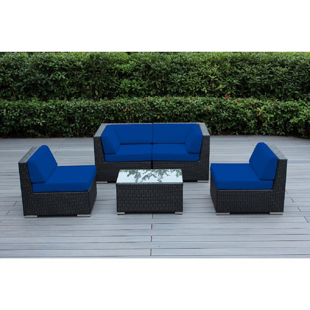 Ohana Depot Black 5 Piece Wicker Patio Seating Set With Sunbrella Pacific Blue Cushions