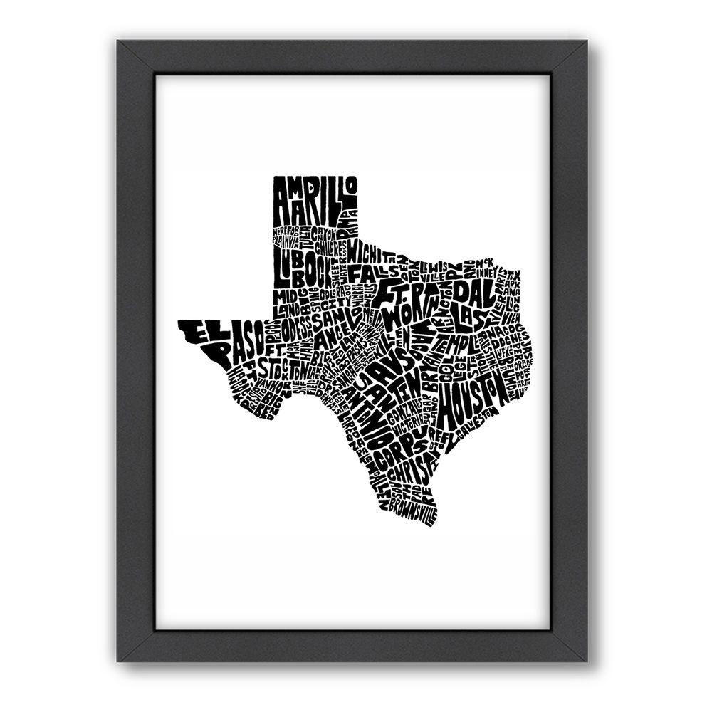 "Americanflat 27 in. x 21 in. ""Texas"" by Joe Brewton Framed Wall Art"
