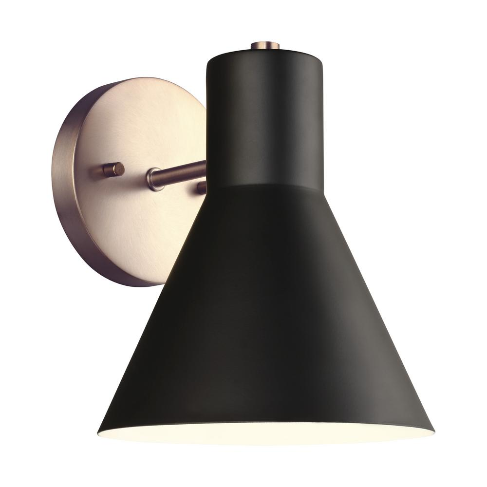 Sea Gull Lighting Towner 1-Light Black Shade with Satin Bronze Accents Sconce