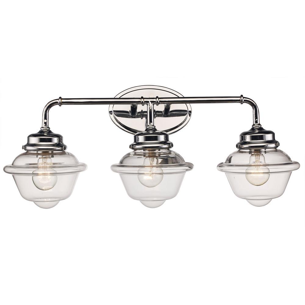 Bel Air Lighting 8 in. 3-Light Polished Chrome Vanity Light