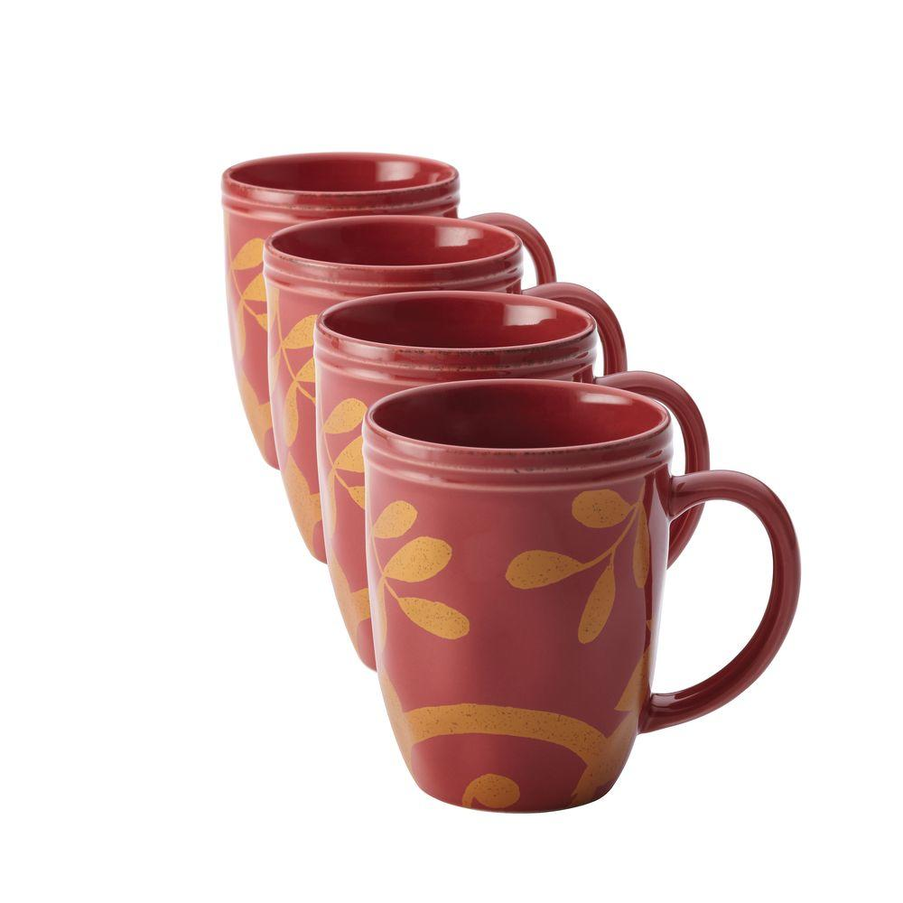 Rachael Ray Dinnerware Gold Scroll 4-Piece Mug Set in Cranberry Red