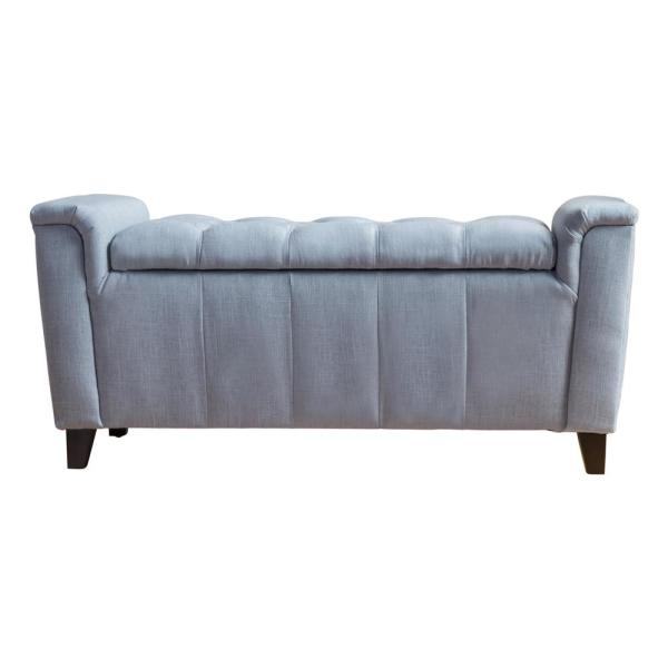 Noble House Argus Blue Fabric Armed Storage Bench 10217