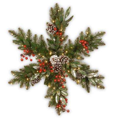 32 in. Frosted Pine Berry Snowflake with Battery Operated LED Lights
