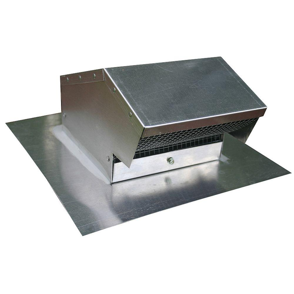 Aluminum Flush Roof Cap With Removable Screen And Backdraft Damper