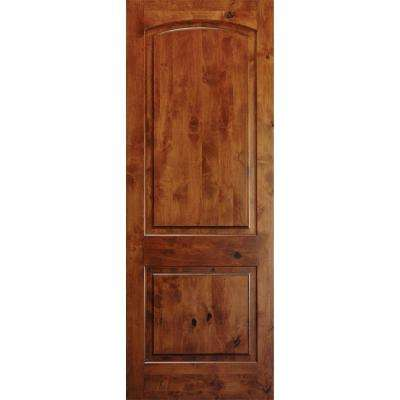 36 in. x 96 in. Rustic Knotty Alder 2-Panel Top Rail Arch Solid Right-Hand Wood Single Prehung Interior Door
