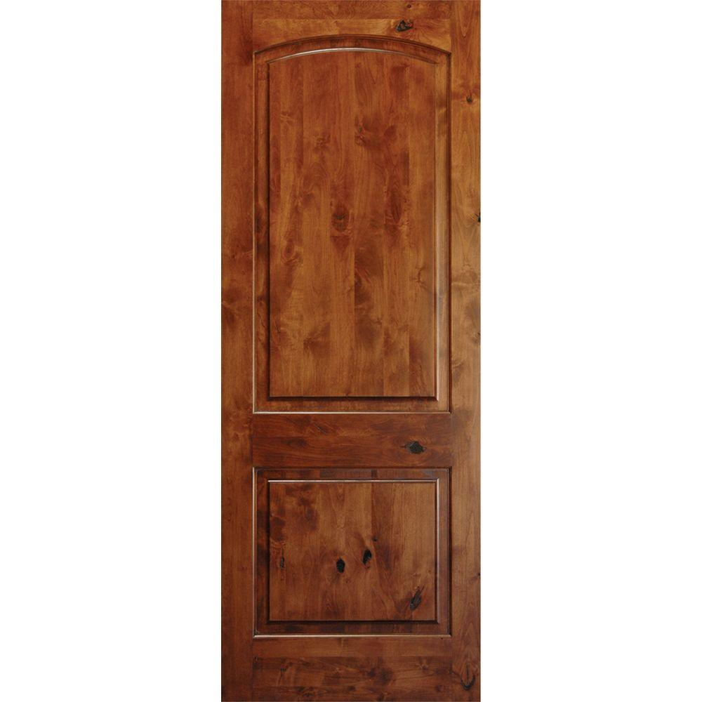 24 in. x 80 in. Rustic Knotty Alder 2-Panel Top Rail