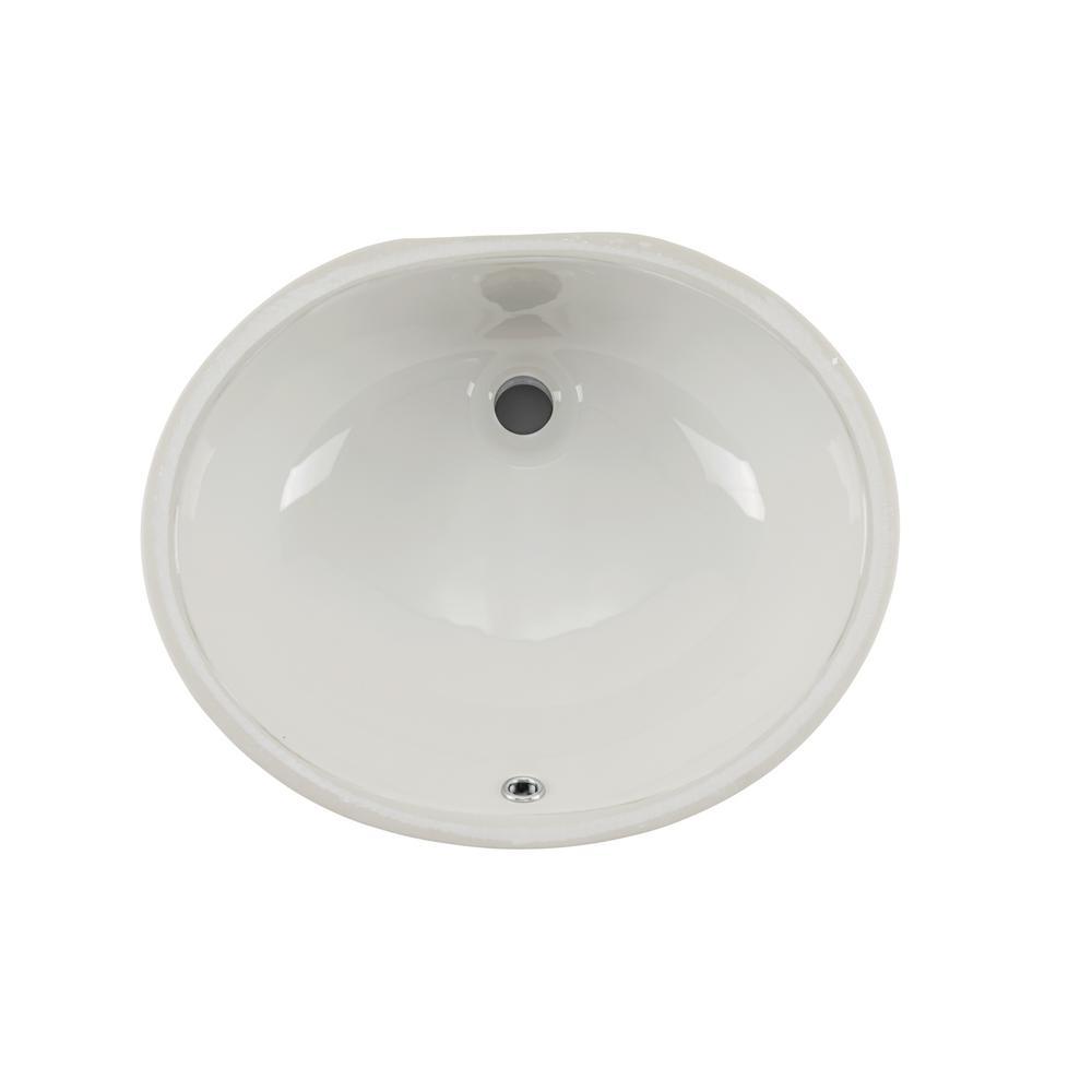 Oval Glazed Ceramic Undermount Bathroom Vanity Sink in White