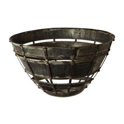 Colossal Fortress 22 in. Iron Decorative Bowl in Distressed Silver