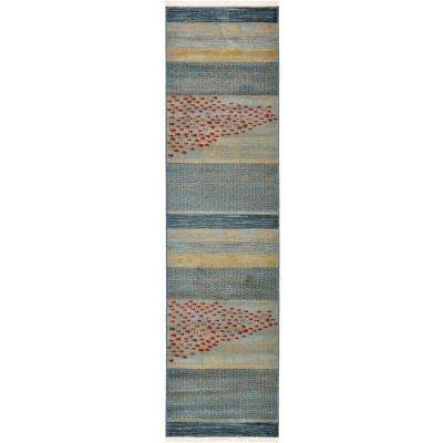 Fars Jordan Light Blue 2' 7 x 10' 0 Runner Rug
