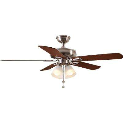 Lyndhurst 52 in. Indoor Brushed Nickel Ceiling Fan with Light Kit