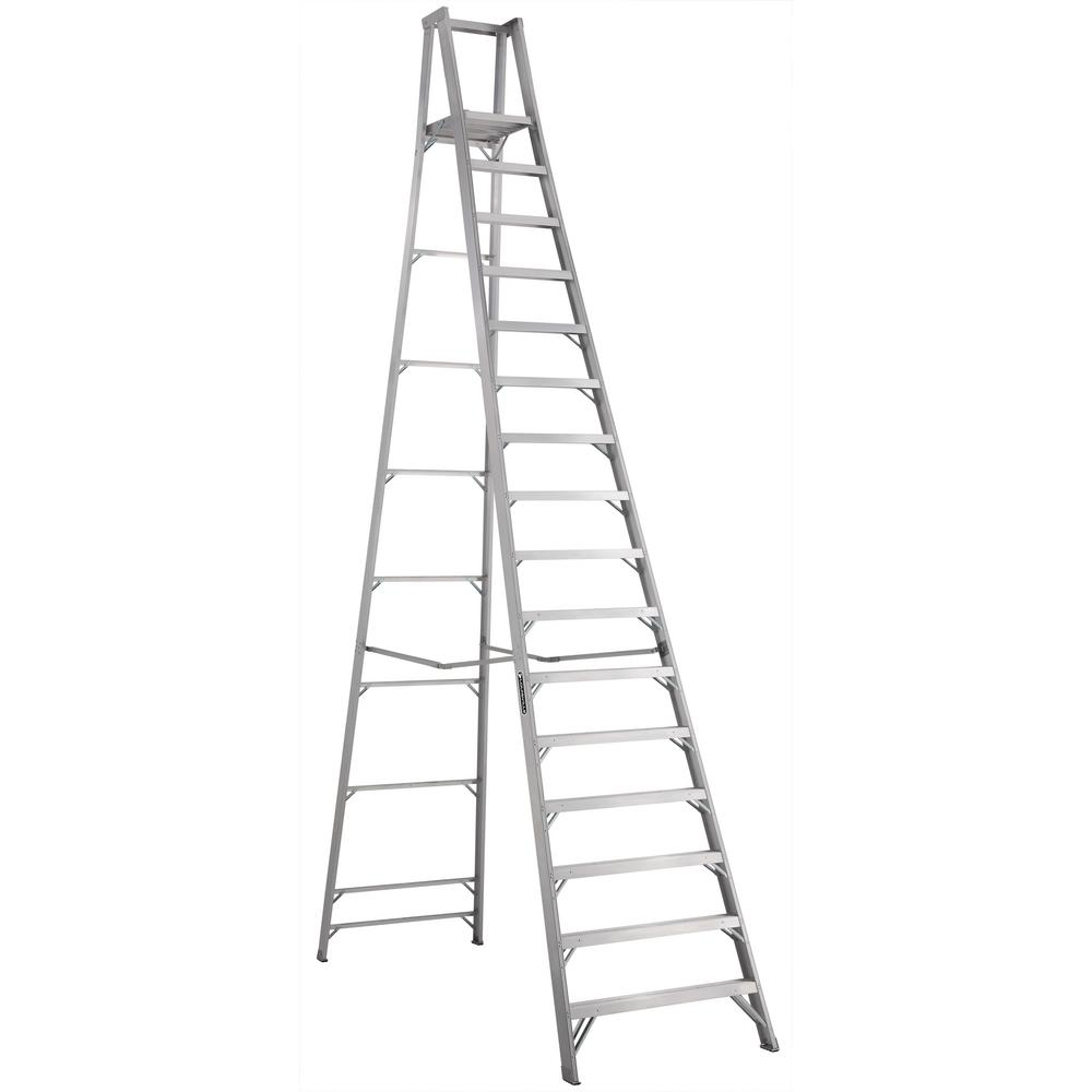 Louisville Ladder 16 ft Aluminum Platform Step Ladder with 300 lbs