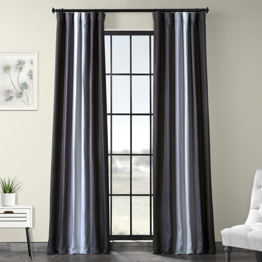 Exclusive Fabrics & Furnishings Parallel Gray Printed Linen Textured Blackout Curtain - 50 in. W x 120 in. L (1-Panel)