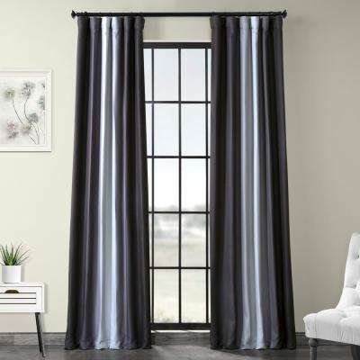 Parallel Gray Printed Linen Textured Blackout Curtain - 50 in. W x 120 in. L (1-Panel)