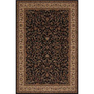 Persian Classic Kashan Black Rectangle Indoor 9 ft. 3 in. x 12 ft. 10 in. Area Rug