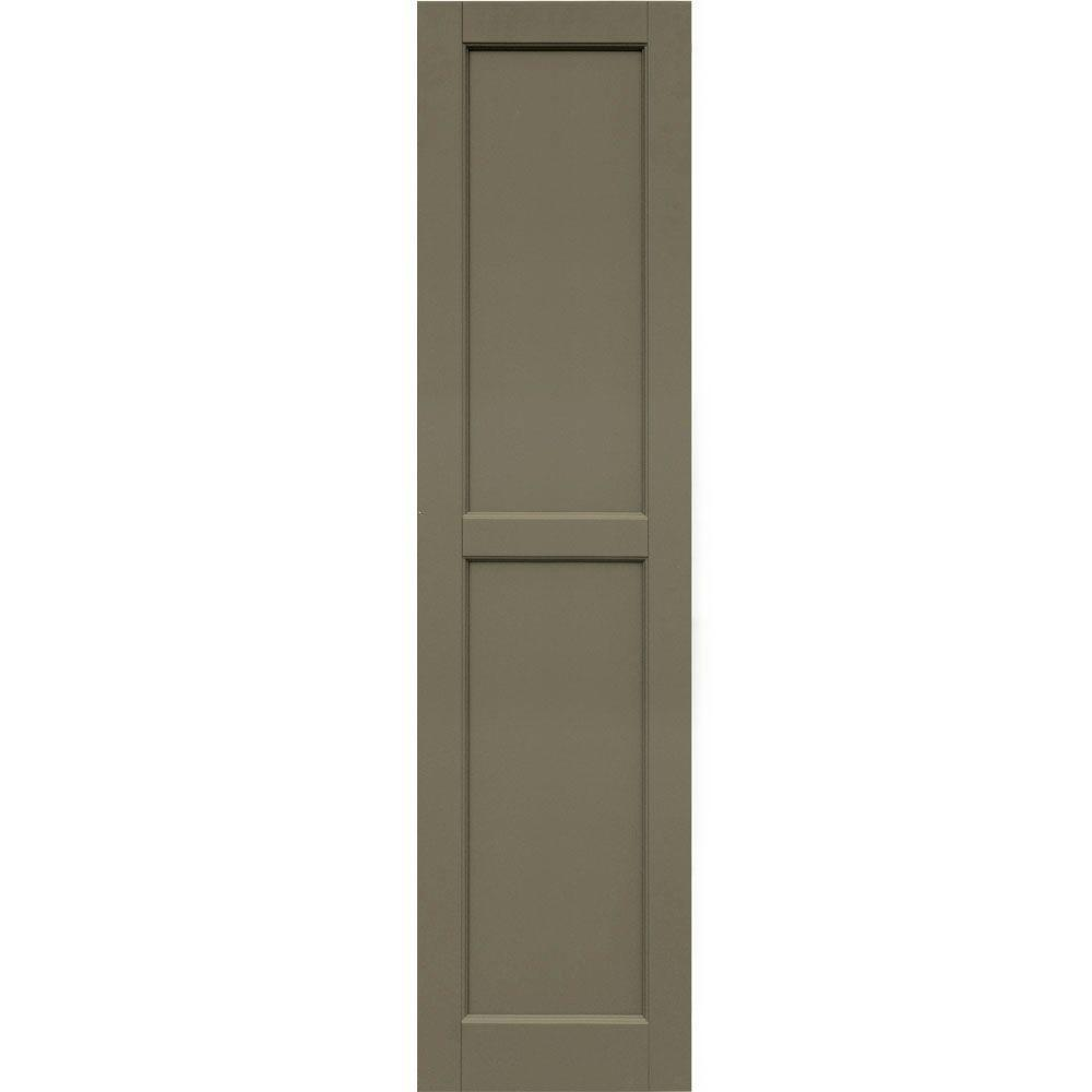 Winworks Wood Composite 15 in. x 60 in. Contemporary Flat Panel Shutters Pair #660 Weathered Shingle
