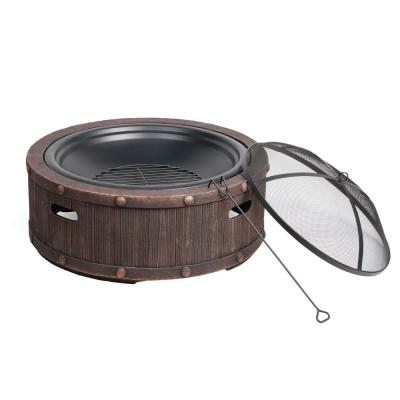 35 in. x 20.5 in. Round Cast Stone Base Wood Burning Fire Pit Riveted Wood