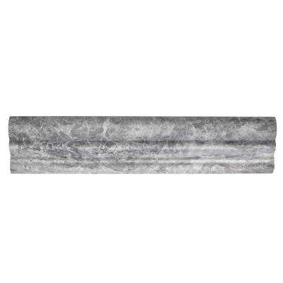 Tundra Grey Crown 2.625 in. x 12 in. Marble Tile