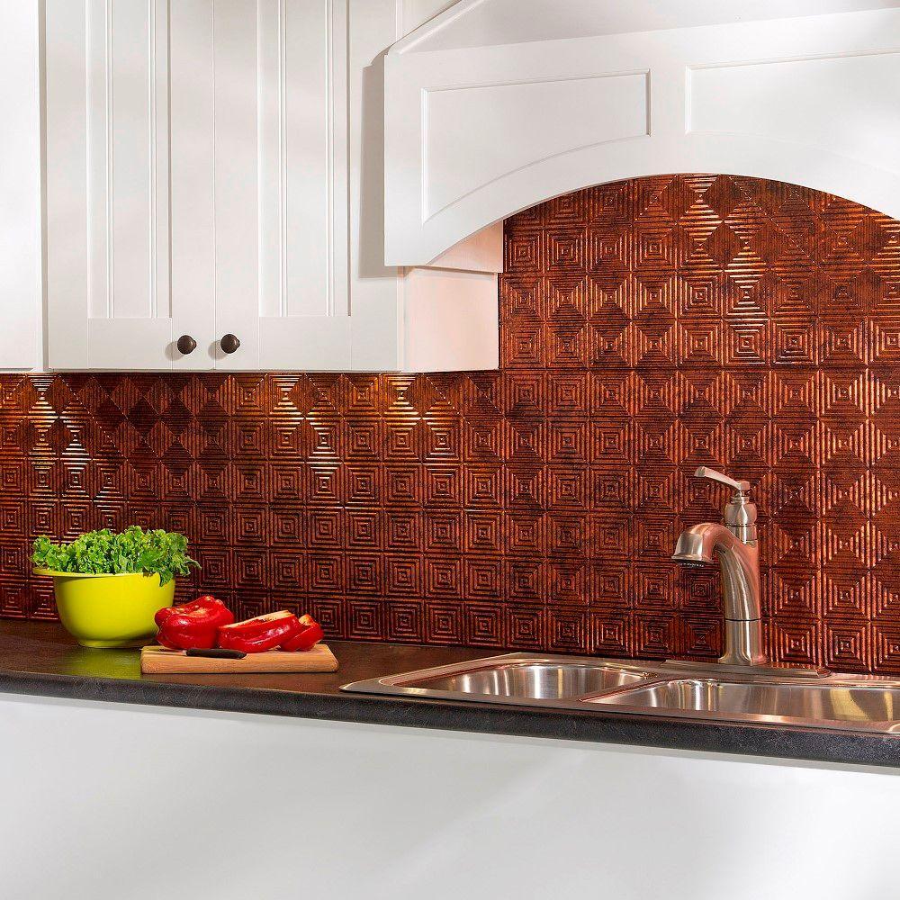 Copper backsplash tile