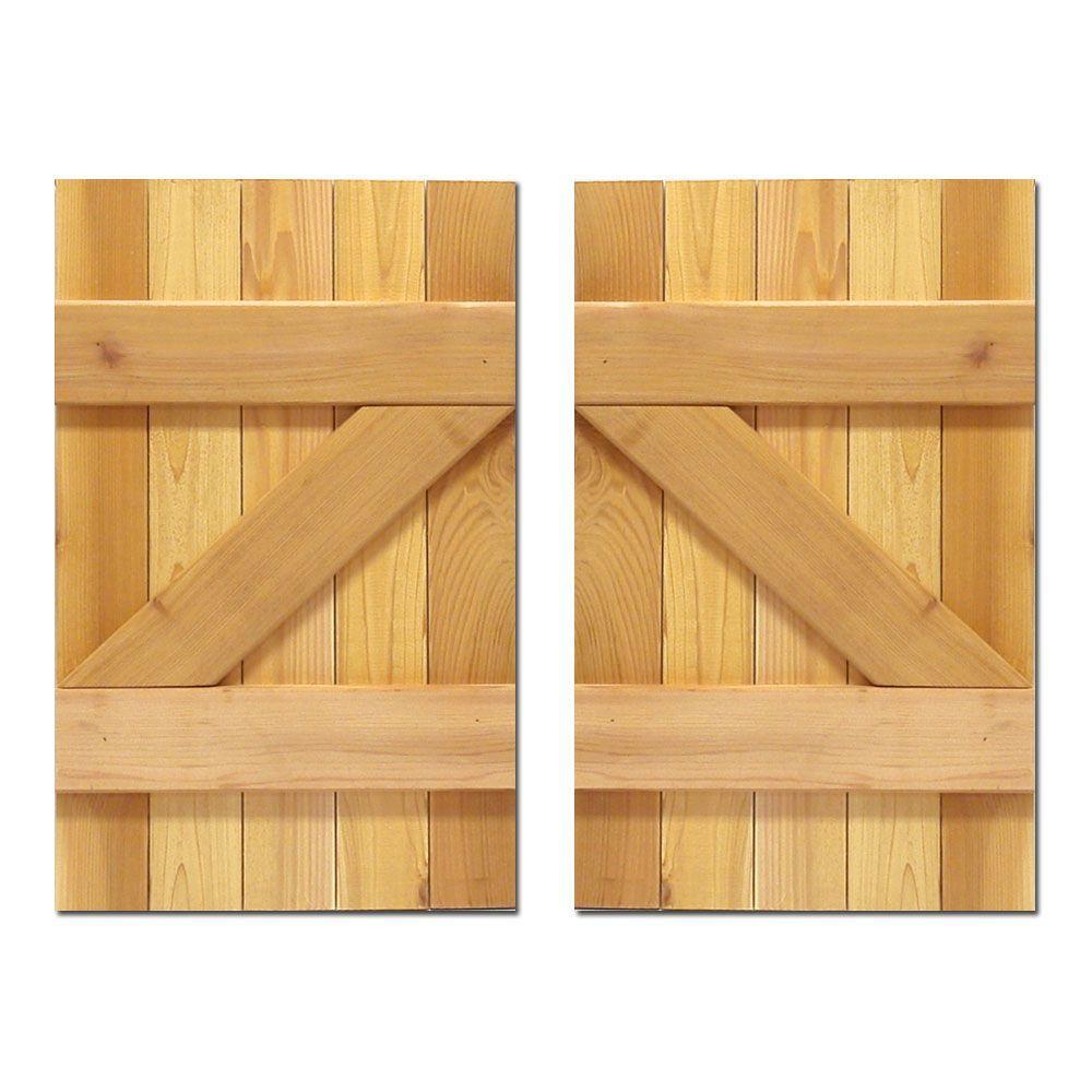 15 in. x 36 in. Board-N-Batten Baton Z Shutters Pair Natural Cedar