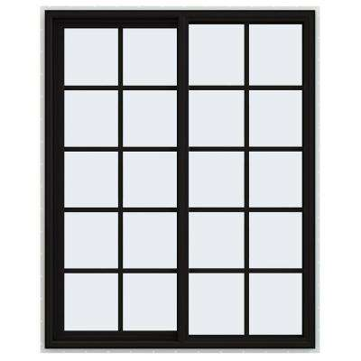 48 in. x 60 in. V-4500 Series Black FiniShield Vinyl Left-Handed Sliding Window with Colonial Grids/Grilles