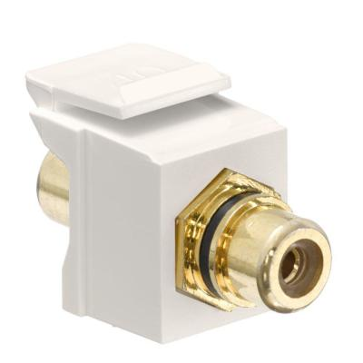 Leviton Quickport Rca Gold Plated Connector Black Stripe Light Almond 40830 Bte The Home Depot