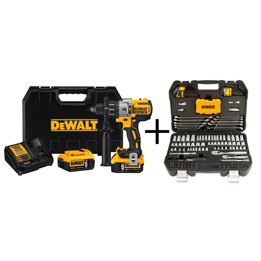 Click here to buy Dewalt 20-Volt MAX XR Lithium-Ion Cordless Premium 1/2 inch Brushless Hammer Drill Kit with Bonus 142-Piece... by DEWALT.