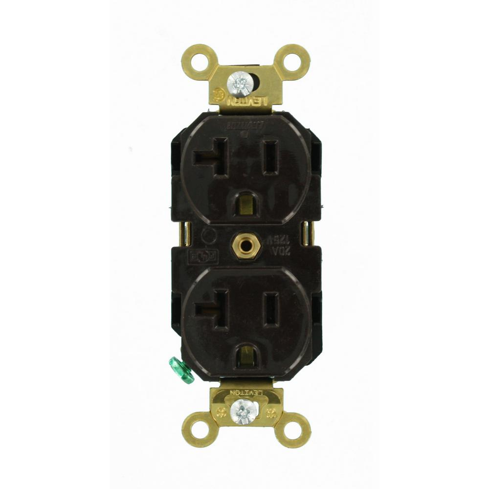 Leviton 20 Amp Industrial Grade Extra Heavy Duty Self Grounding Duplex Outlet, Brown