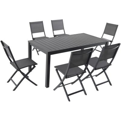 Naples 7-Piece Aluminum Outdoor Dining Set with 6-Sling Folding Chairs in Gray and a 63 in. x 35 in. Dining Table