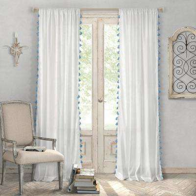 Bianca 52 in. W x 95 in. L Polyester Single Rod Pocket Window Curtain Panel in Blue