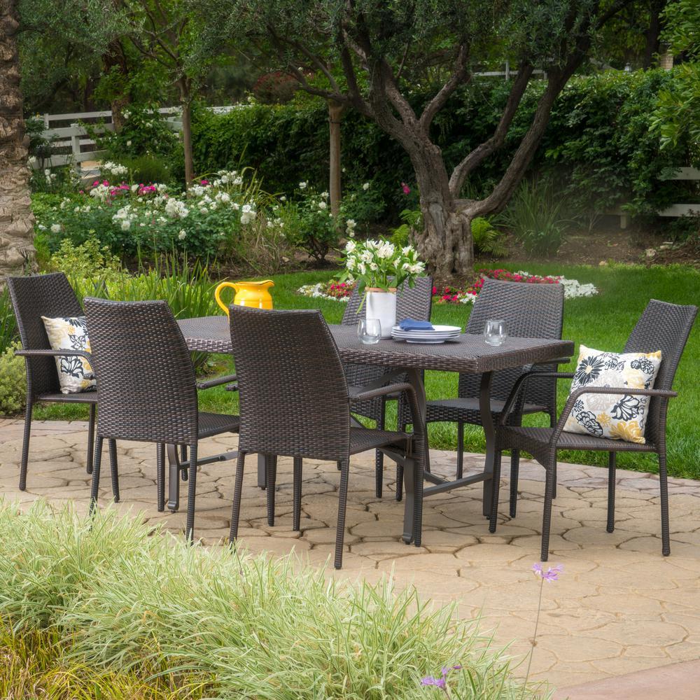 Alexandria Multi-Brown 7-Piece Wicker Outdoor Dining Set