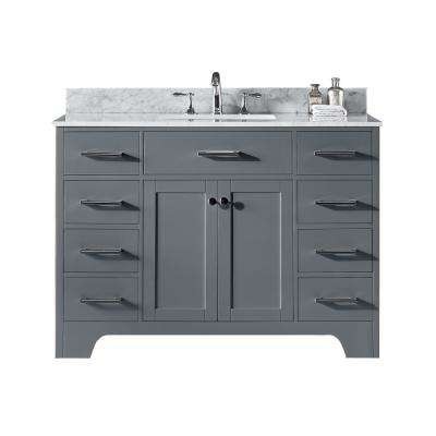 Clariette 48 in. W x 22 in. D x 34.21 in. H Bath Vanity in Cashmere Grey w/ Marble Vanity Top in White w/ White Basin