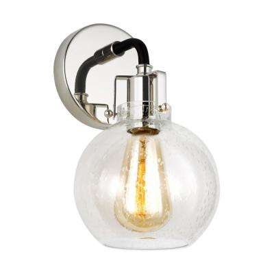 Clara 5 in. Polished Nickel Sconce with Clear Seeded Glass