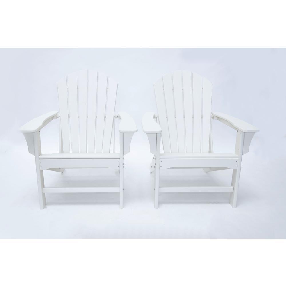 Hampton White Poly Outdoor Patio Plastic Adirondack Chair (2-Pack)
