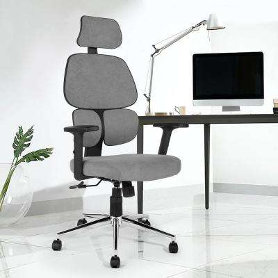 Tikitere Gray Fabric High Back Ergonomic Office Chair