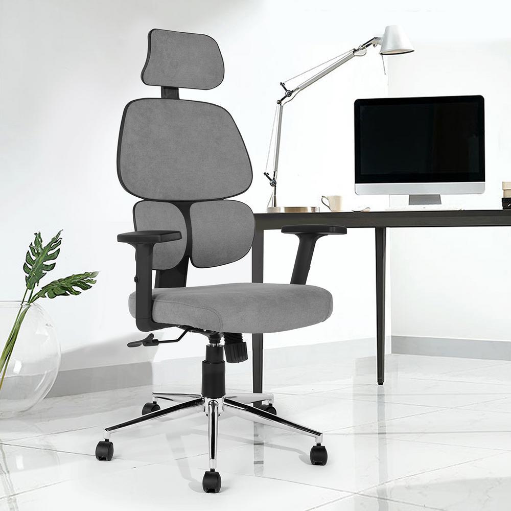 FurnitureR Tikitere Gray Fabric High Back Ergonomic Office Chair