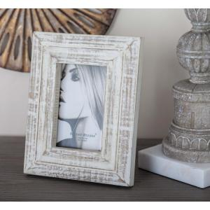 1-Opening 7 inch x 9 inch White Patina Picture Frame by