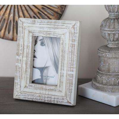 1-Opening 7 in. x 9 in. White Patina Picture Frame