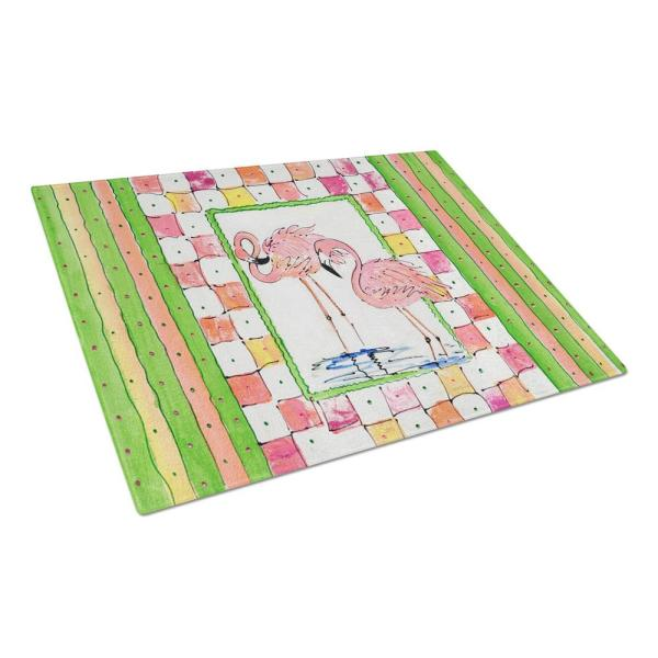 Flamingo Tempered Glass Large Cutting Board