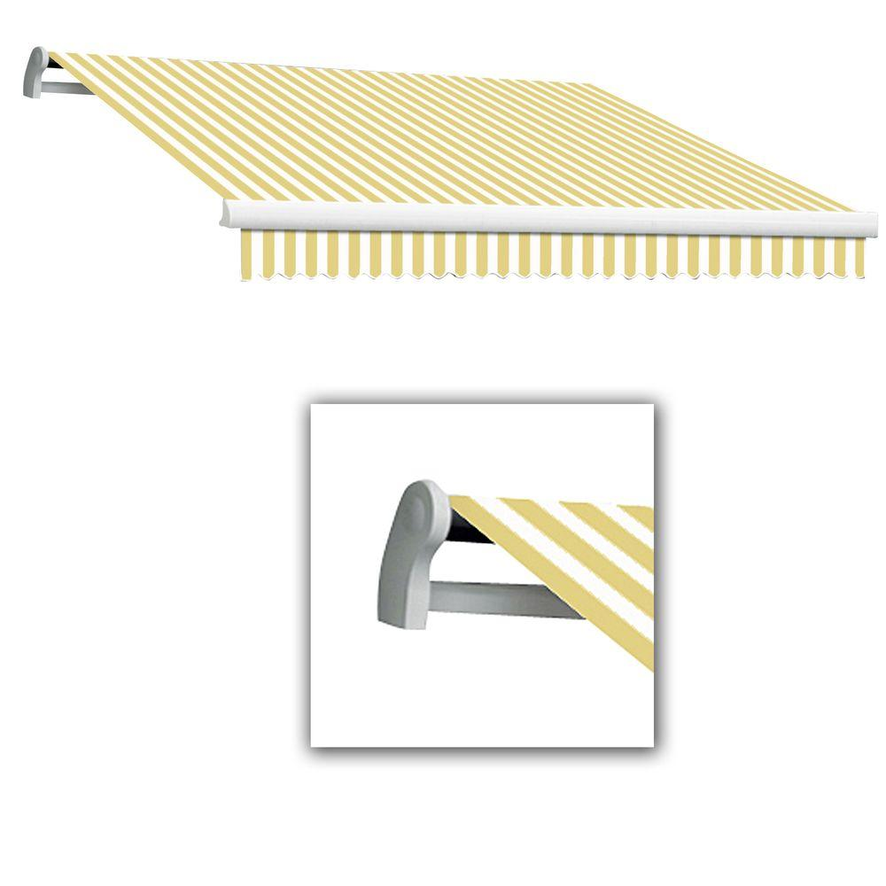 AWNTECH 10 ft. LX-Maui Right Motor with Remote Retractable Acrylic Awning (96 in. Projection) in Yellow/White