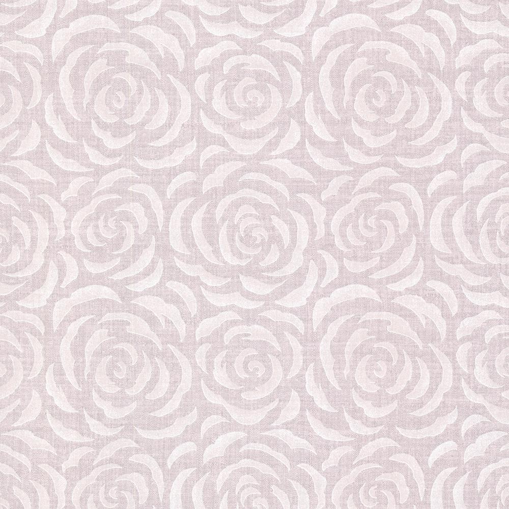 56.4 sq. ft. Rosette Lavender Rose Pattern Wallpaper