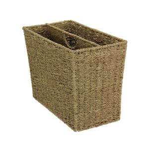 Click here to buy Household Essentials Natural Seagrass Freestanding Side by Side Magazine Rack by Household Essentials.