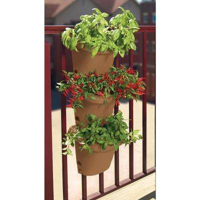 Chocolate Hanging Garden Plastic Planter System (3 pack)