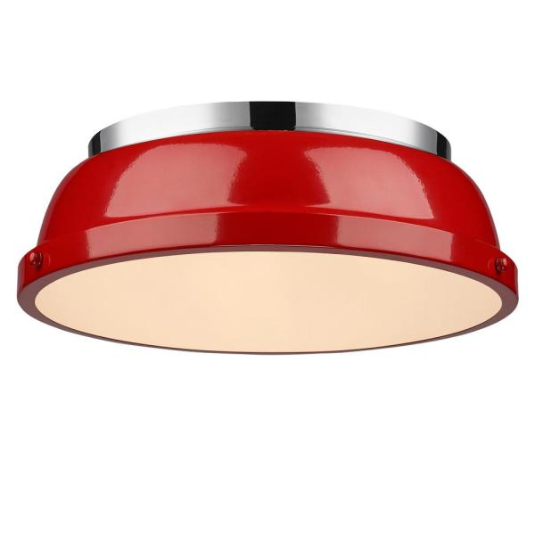 Duncan 2-Light Chrome Flush Mount with Red Shade