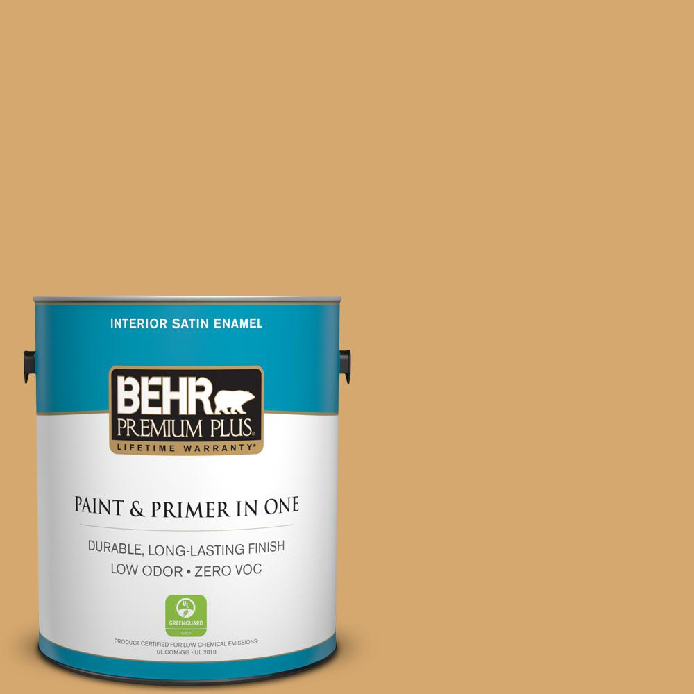 BEHR Premium Plus 1-gal. #ICC-70 Flower Field Zero VOC Satin Enamel Interior Paint