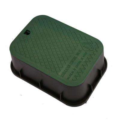 12 in. x 17 in. x 6 in. Extension Valve Box in Black Body Green Lid